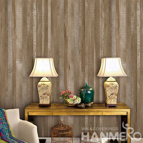 HANMERO Decorative Household Wall Wallcovering Manufacturer 0.53 * 10M Non-woven Wood Wallpaper Wholesale Trader from China