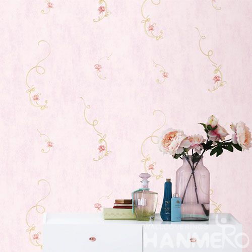 HANMERO Pink Color Fashion Design Floral Wallcovering Non-woven 0.53 * 10M / Roll Children Room Decorative Wallpaper Wholesale