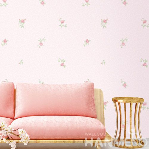 HANMERO Eco-friendly Natural Pink Flowers Non-woven Wallpaper 0.53 * 10M Fashion Beautiful Living Room Decorating Wallcovering Latest