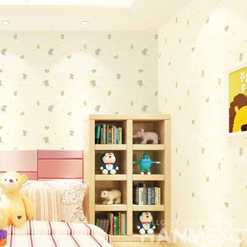 HANMERO Elephant Carton Household Children Room Wall Wallpaper Non-woven 0.53 * 10M Wallcovering from Chinese Factory in Modern Style