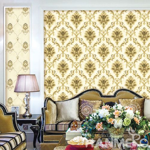 HANMERO Modern European Non-woven 0.53 * 10M Wallpaper Gloden Damask Design Wallcovering Wholesale Prices for Living Room Decorative