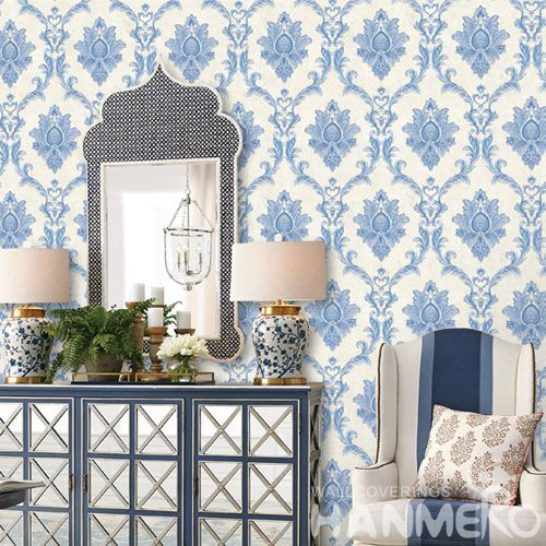 HANMERO Interior Decor Wallcovering Cozy Blue Color Floral Design 0.53 * 10M Wallpaper Natural Material for Living Room Bedroom