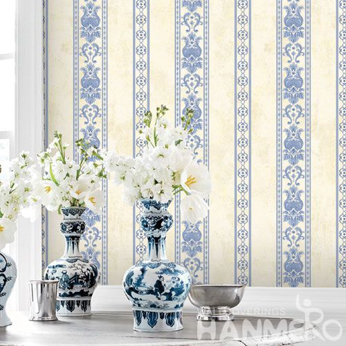HANMERO Modern Stripes Design Light Blue Color Non-woven 0.53 * 10M Wallpaper Room Wall Decor Wallcovering Wholesaler Competitive Prices