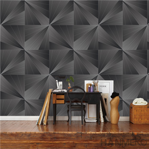 HANMERO PVC modern wallpaper Geometric Deep Embossed Modern TV Background 0.53*10M Removable