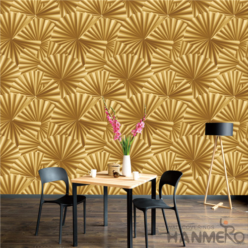 HANMERO PVC Removable 0.53*10M Deep Embossed Modern TV Background Geometric unique wallpaper for walls