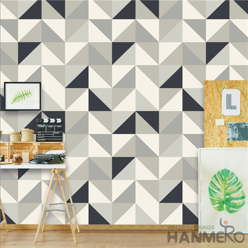 HANMERO PVC Removable Deep Embossed Geometric Modern TV Background 0.53*10M house decoration wallpaper