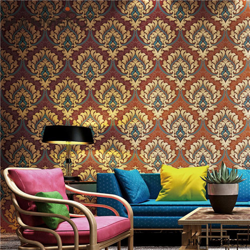 HANMERO PVC wallpaper design for bedroom Geometric Bronzing Pastoral Living Room 0.53*10M Professional