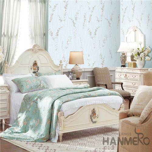 HANMERO Light Blue Color Modern Leaves Design Non-woven Wallpaper 0.53*10M Nature Sense Wallcovering Factory Interior Bedroom Decor
