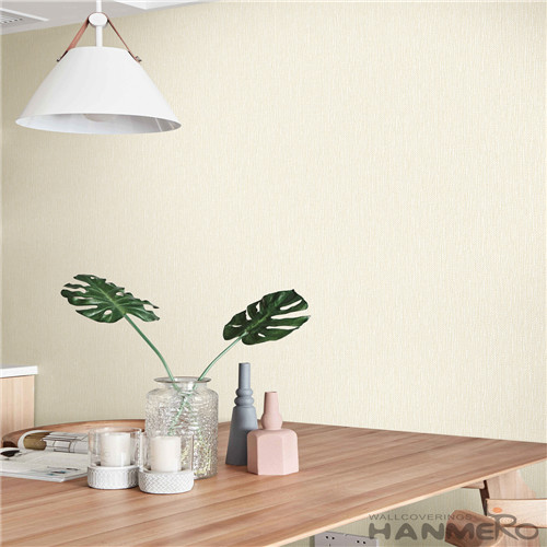 HANMERO Simple Modern Beige Color Non-woven Wallpaper 0.53*10M Household Decor Wallcovering with Unique Technology from China