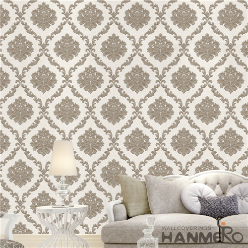 HANMERO PVC Professional Supplier Damask Deep Embossed Mediterranean 0.53M Theatres online wallpaper for walls