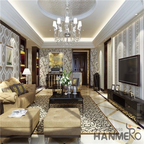 HANMERO Theatres Professional Supplier Damask Deep Embossed Mediterranean PVC 0.53M wallpaper pattern for home