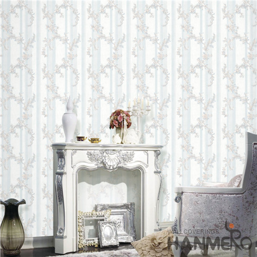 HANMERO PVC Professional Supplier Damask Theatres Mediterranean Deep Embossed 0.53M wall with wallpaper