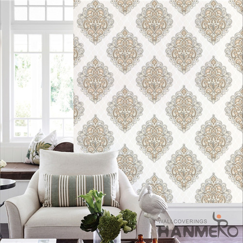 HANMERO PVC Hot Selling Flowers Bronzing interesting wallpaper for walls Saloon 0.53*10M Modern