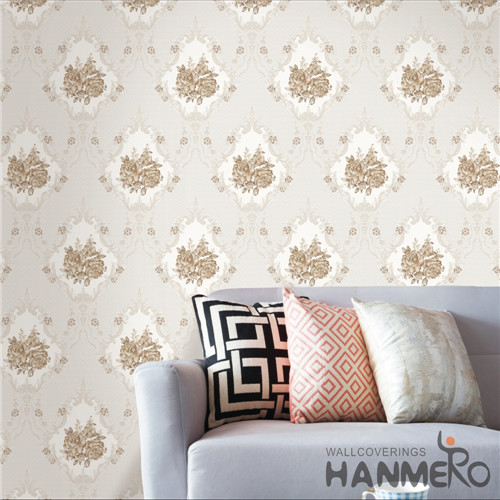 HANMERO PVC Hot Selling Flowers 0.53*10M Modern Saloon Bronzing decorative wallpaper for bedroom