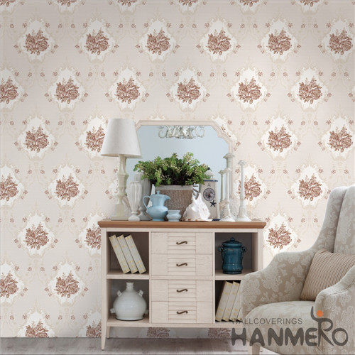 HANMERO PVC Hot Selling Flowers Bronzing 0.53*10M Saloon Modern design of wallpaper for home