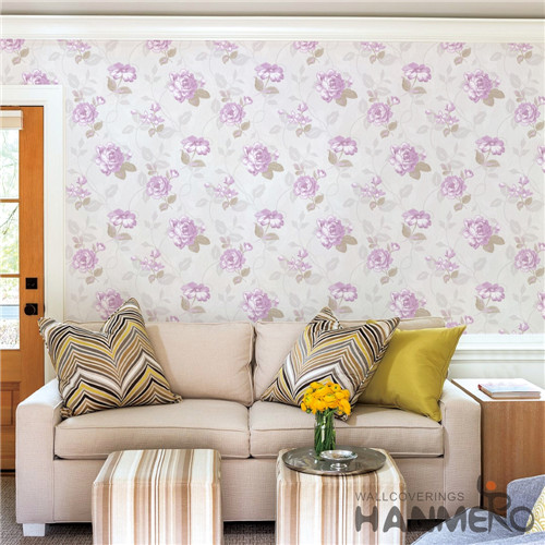 HANMERO PVC Hot Selling Flowers Bronzing Modern 0.53*10M Saloon wall paper for walls