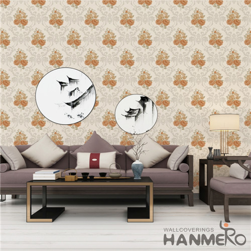 HANMERO 0.53*10M Fancy Flowers Bronzing European Saloon PVC room decoration wallpaper