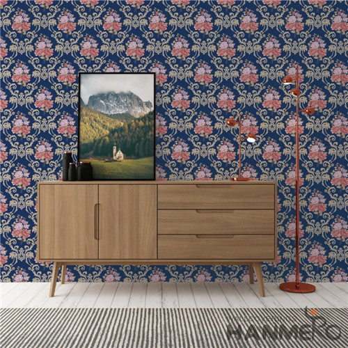 HANMERO PVC Fancy 0.53*10M Bronzing European Saloon Flowers wallpaper for house interior