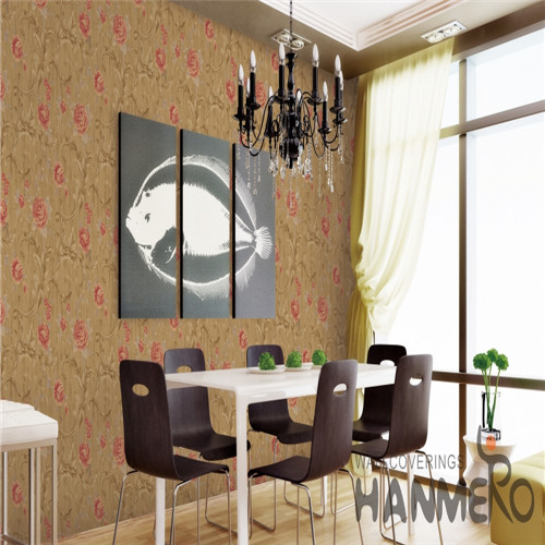 HANMERO PVC Fancy European Bronzing Flowers Saloon 0.53*10M cool wallpapers for walls