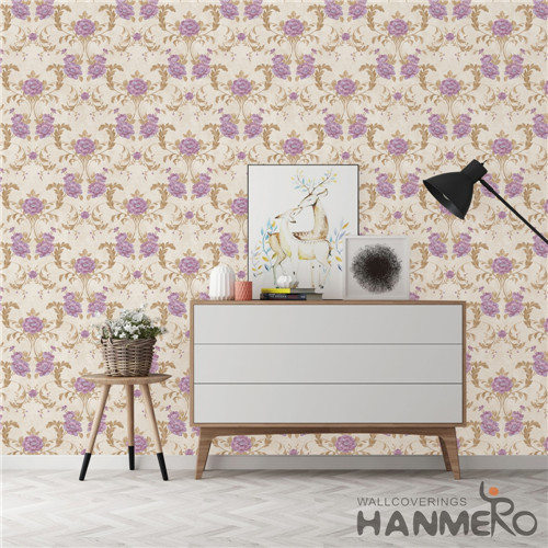 HANMERO PVC Specialized Chinese Style Technology Flowers Cinemas 0.53*10M custom home wallpaper