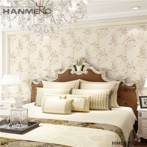 HANMERO PVC Decoration 1.06*15.6M Deep Embossed Pastoral House Floral wallpaper at