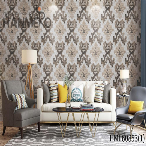 HANMERO PVC Seller Floral Flocking European wall coverings 0.53M House