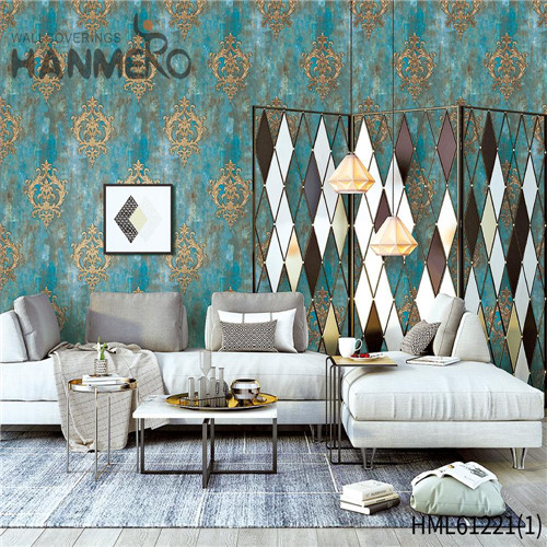 HANMERO PVC Professional Bamboo 0.53*10M Chinese Style Theatres Flocking wallpaper for living room
