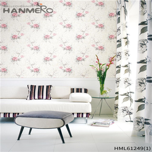 HANMERO PVC Professional Flocking Bamboo Chinese Style Theatres 0.53*10M wallpaper for shop walls
