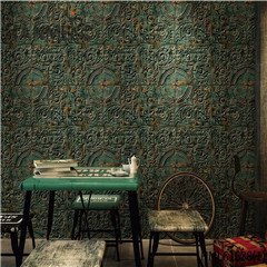 HANMERO PVC Photo Quality Stone Saloon Chinese Style Deep Embossed 0.53*10M black border wallpaper