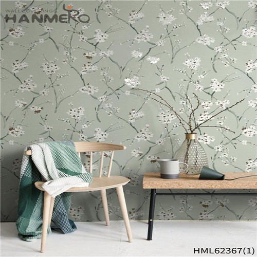 HANMERO Non-woven 0.53*10M Flowers Flocking Classic Sofa background Hot Sex decorative wallpaper