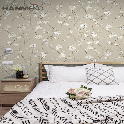 HANMERO Non-woven Hot Sex 0.53*10M Flocking Classic Sofa background Flowers wallpaper for sale