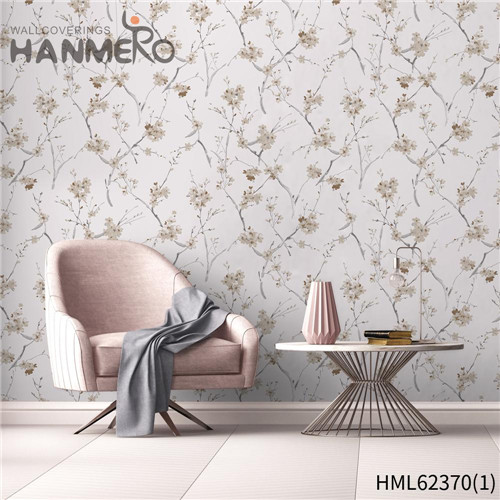 HANMERO Non-woven Hot Sex Flowers Flocking 0.53*10M Sofa background Classic house wallpaper design