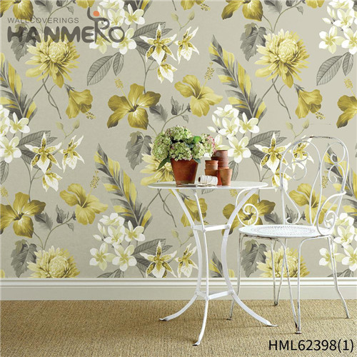 HANMERO Hot Sex Non-woven Flowers Flocking Sofa background 0.53*10M wallpaper retail stores Classic