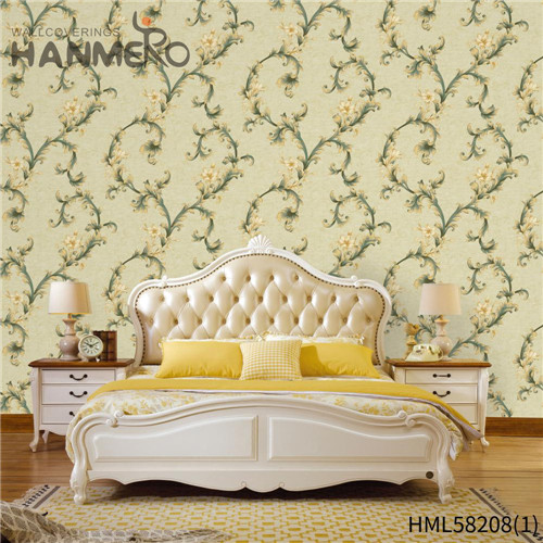 HANMERO PVC Professional Supplier Flowers Flocking Modern Church 0.53*10M wallpaper house