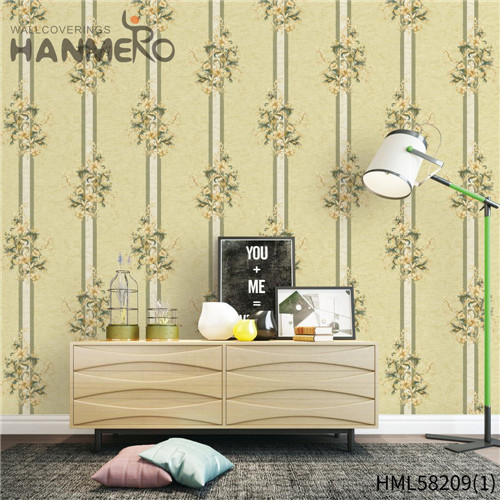 HANMERO high quality wallpapers Professional Supplier Flowers Flocking Modern Church 0.53*10M PVC
