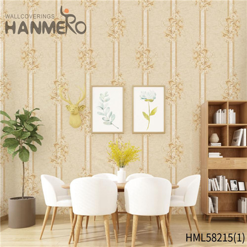 HANMERO PVC wallpaper suppliers Flowers Flocking Modern Church 0.53*10M Professional Supplier