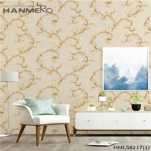 HANMERO PVC Professional Supplier Flowers wallpaper for living room Modern Church 0.53*10M Flocking