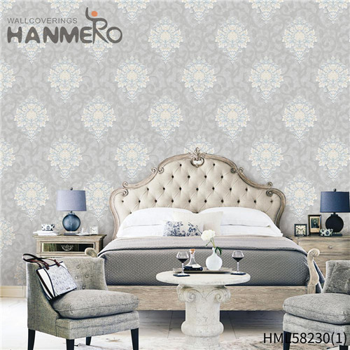 HANMERO PVC Professional Supplier Flowers Flocking Modern wallpaper for bedroom wall 0.53*10M Church