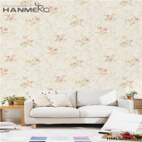 HANMERO PVC Professional Supplier 0.53*10M Flocking Modern Church Flowers wallpaper at home