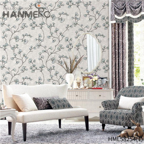 HANMERO PVC Professional Supplier Flowers Flocking 0.53*10M Church Modern decorating wallpaper designs