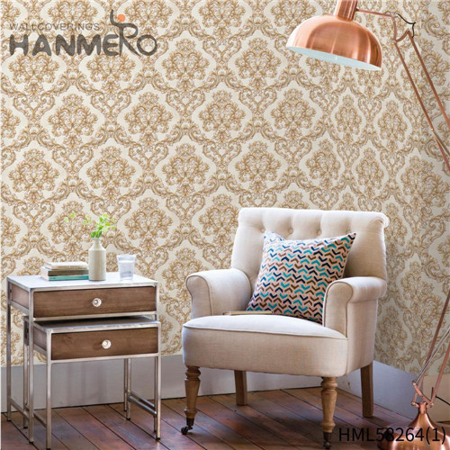 HANMERO PVC Professional Supplier Flowers Flocking Modern 0.53*10M Church wide wallpaper home decor