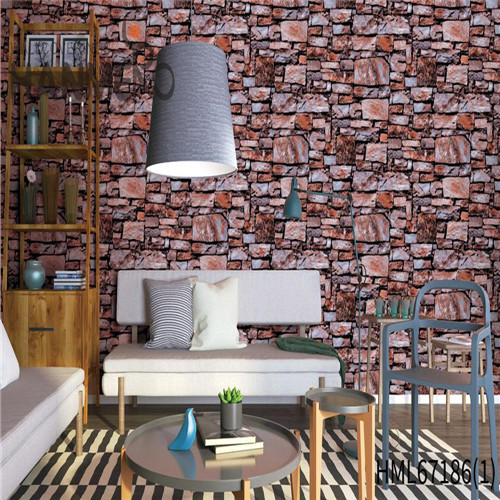 HANMERO PVC Durable Brick 0.53*10M Chinese Style Theatres Technology home decor wallpaper online