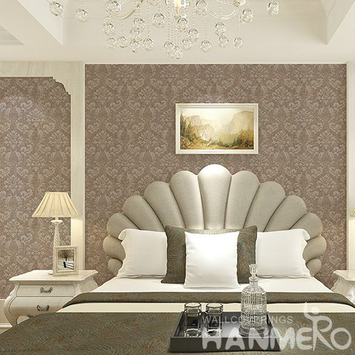 HANMERO Manufacture Wall Decoration Wet Embossed Brown Color Modern Wallpaper Ideas  for Livingroom Bedroom on Sale
