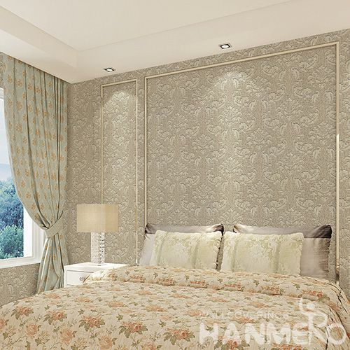 HANMERO Eco-friendly Removable Brown Color Wet Embossed Wallpaper Bedroom Wallcovering Wholesaler Manufacturer