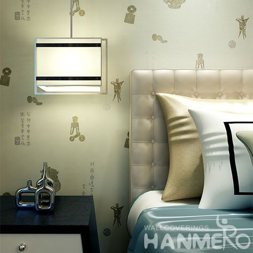 HANMERO New Arrival House Interior Design Wet Embossed Wallpaper Chinese Words for Study Room Decoration Manufacturer