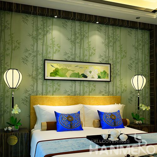 HANMERO Chinese Top Selling Modern Green Bamboo Interior Room Wallpaper Wet Embossed Wallcovering on Wall Design