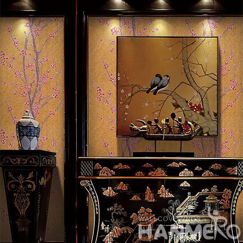 HANMERO High-end Removable Wet Embossed Wallpaper Plum Blossom Textured for Cozy Home Decoration from China