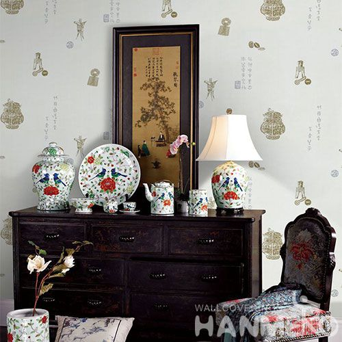 HANMERO New Arrival Wallcovering Supplier Designer Chinese Words Wallpaper Design in Living Room with Best Prices
