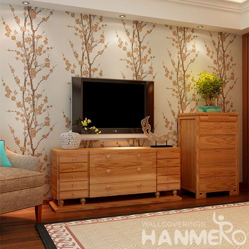 HANMERO Best Selling High Quality Plum Blossom Wet Embossed Wallpaper Free Samples Avalable for TV Bachground Wall