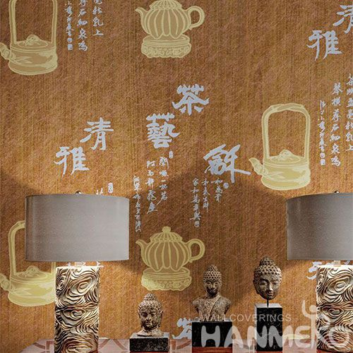 HANMERO Decorative Interior Wallcovering Manufacturer Classic Chinese Words Wet Embossed Wallpaper Wholesale Trader
